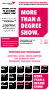 Invitation Edinburgh Napier Degree Show 2016